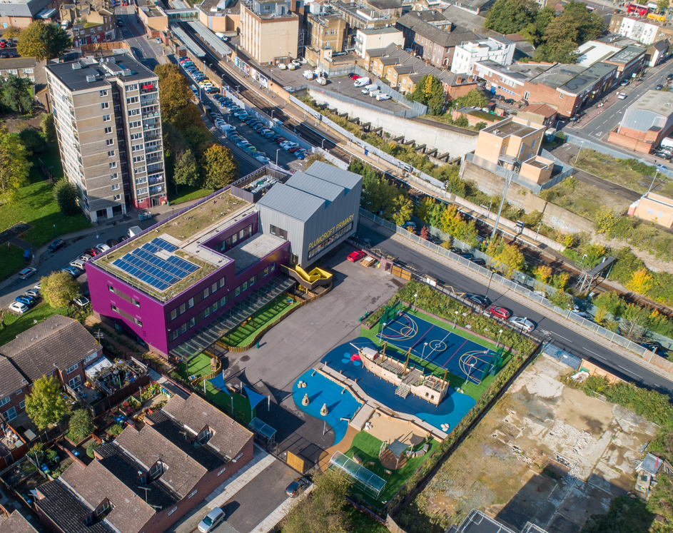 Aerial view of Plumcroft Primary school in Woolwich, London.