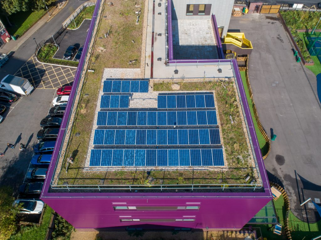 Energy saving solar panels at Plumcroft Primary