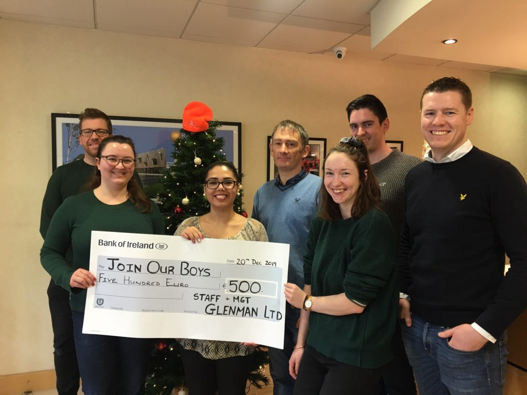 Glenman Corporation raised €500 for the Join Our Boys Trust