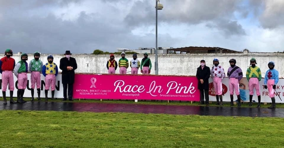 At the Race in Pink fundraiser jockeys wore pink Jodhpurs in Support of the National Breast Cancer Research Institute.
